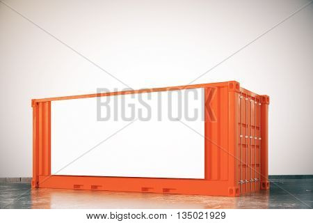 Orange cargo container with blank billboard on light background. Mock up 3D Rendering