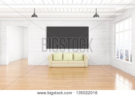 Interior design with empty chalkboard on white brick wall wooden floor ceiling couch and window with city view. Mock up 3D Rendering