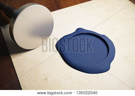 Aged paper sheet with blank silver stamper and blue seal on wooden background. Mock up 3D Rendering