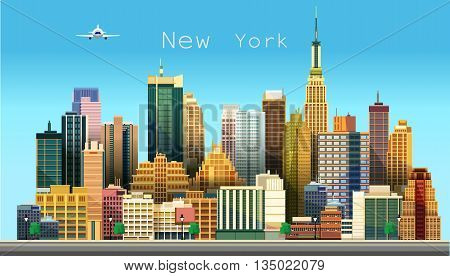 New York city. Stylized vector illustration of a city