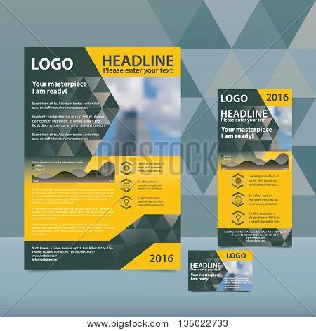 Gray and orange annual report with the pattern of triangles brochure flyer and business card design template. Triangles Pattern for Business Presentations. Report with infographics.