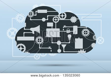 Web and application development flat banner with icons. Abstract vector concept of cloud computing with many graphic icons which form a cloud shape.