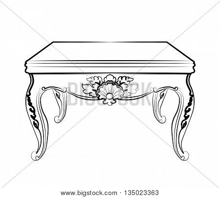 Imperial royal table with luxurious damask rococo ornaments. Vector sketch