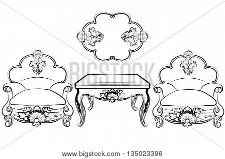 Set of classic imperial furniture with rich rococo ornaments. Vector