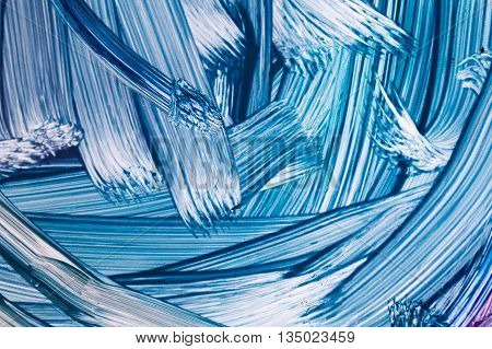 Blue Oil Painting Fragment With Rough Brush Strokes