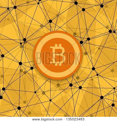 vetor modern concept of bitcoin, new money and polygonal background