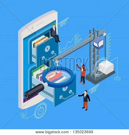 Mobile phone storage flat 3d isometric vector. Businessman put in document drawer folder in cloud-shaped cabinet. Crane lowers a folder to the archive. Futuristic virtual graphic user interface.