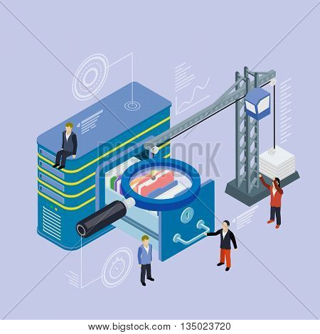 Database storage server. Flat 3d isometric vector. Businessman put in document drawer folder in cloud-shaped cabinet. Crane lowers a folder to the archive. Futuristic virtual graphic user interface.