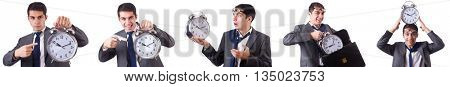 Man with clock isolated on white