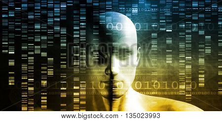 Scientific Research and Genetic DNA Science Concept 3D Illustration