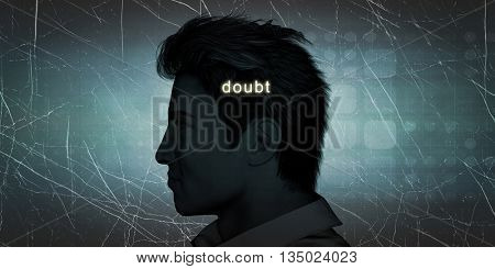 Man Experiencing Doubt as a Personal Challenge Concept 3D Illustration