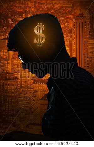 Businessman thinking about money in business concept