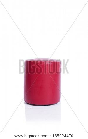 Red pouf chair furniture isolated on the white background