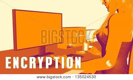 Encryption Concept Course with Woman Looking at Computer 3D Illustration Render