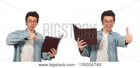 Collage of student with books on white