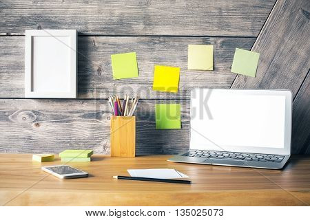 Desktop With White Laptop Closeup