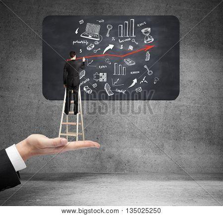 Success Concept Man On Ladder