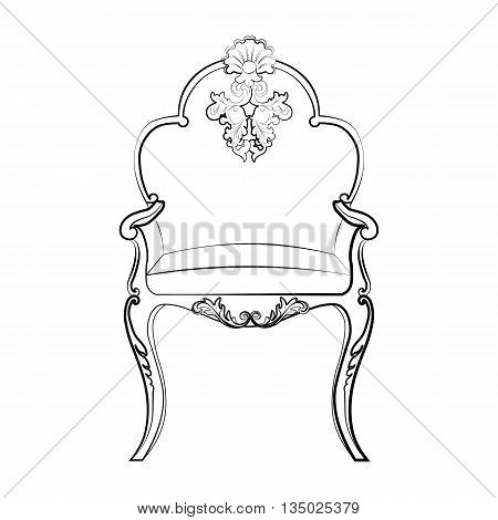 Imperial Royal chair with classic rococo damask ornaments. Vector