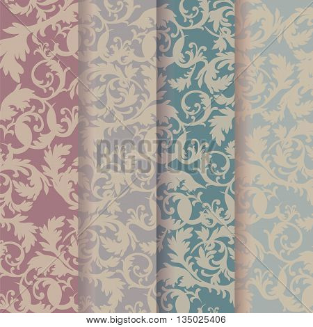 Vintage Baroque Ornaments Pattern set in pastel colors. Vector