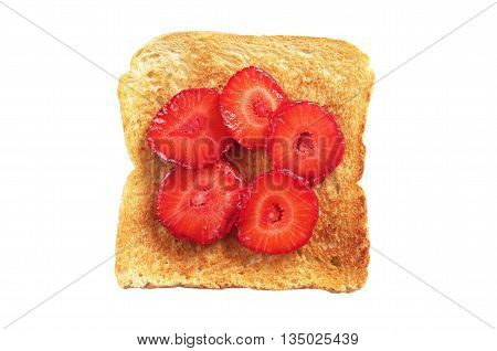 Toast with fresh strawberries isolated on white background top view