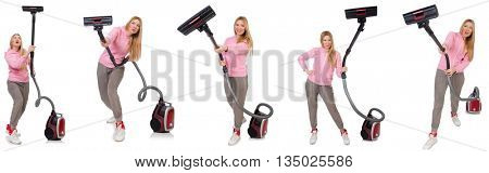 Young woman with vacuum cleaner on white