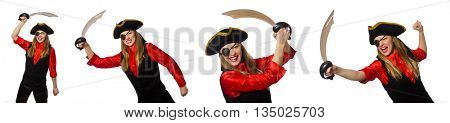 Woman pirate in various concepts on white
