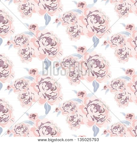 Roses flowers texture pattern. Shabby chic style. Vector