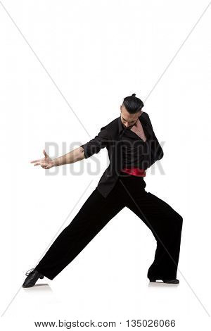 Man dancer dancing spanish dances isolated on white