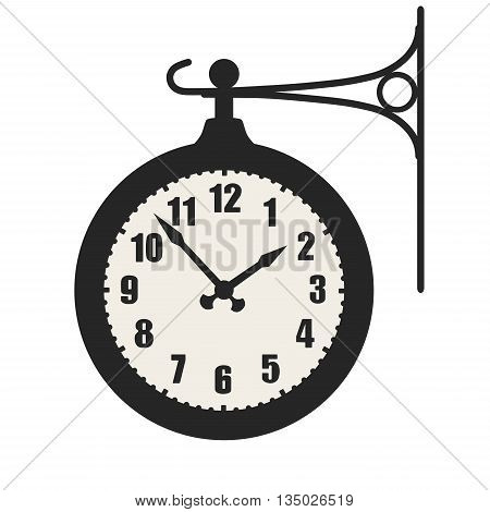 Train station clock sign symbol isolated on white background