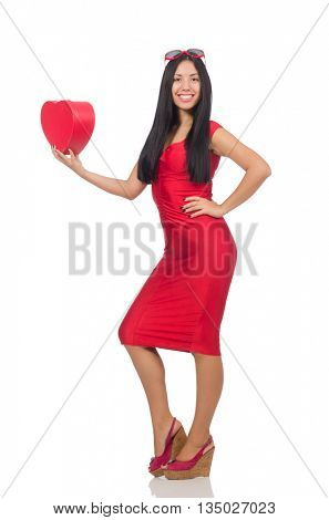 Woman in saint valentine concept on white