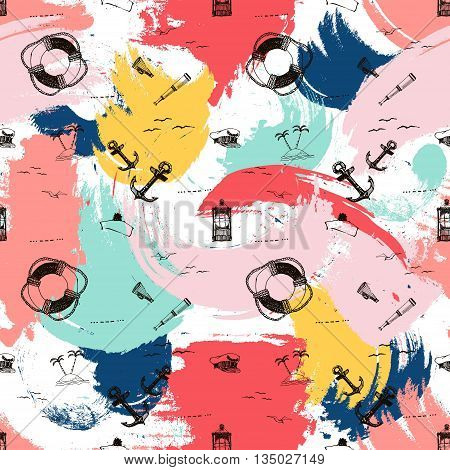 Marine vector seamless pattern with anchors and life buoy