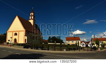 Square in village Sevetin in south Bohemia with church