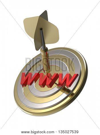 Dart hitting target. WWW search concept. 3D illustration.