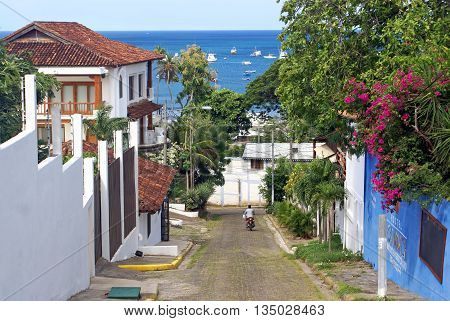 SAN JUAN DEL SUR NICARAGUA - SEPTEMBER 18 2015: Street in the San Juan del Sur on the Pacific coast
