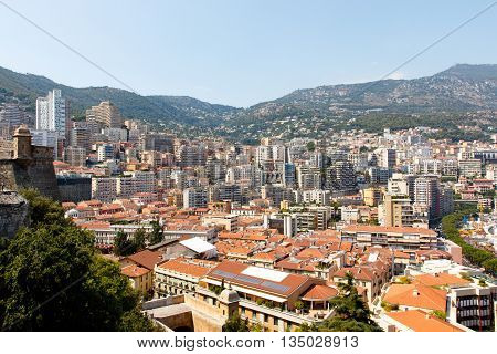 Skyline of Monte Carlo in Monaco on the French Riviera. Horizontal with copy space for text