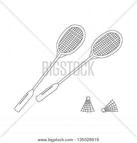 Badminton racket and shuttlecocks icon in black on white. Hand drawn illustration