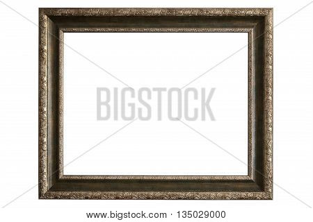 Brass picture frame isolated on white background with clipping path
