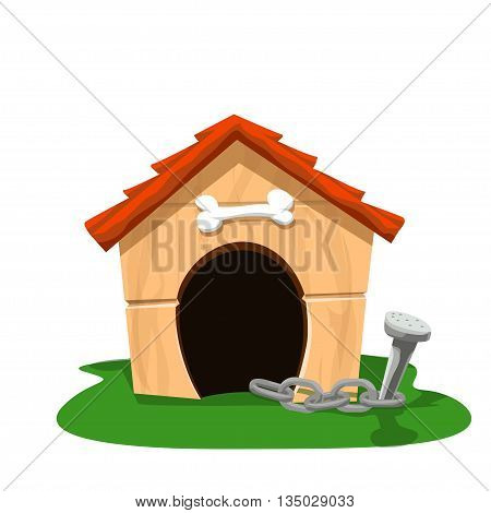 illustration of vartoon dog house on green grass with chain