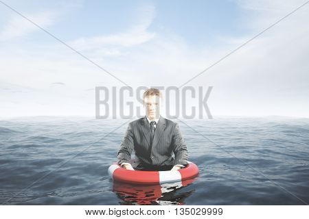 Businessman with lifebuoy ring in water waist-deep. Assurance concept. 3D Rendering