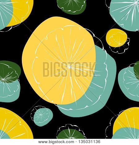 Water Lily vector seamless pattern on black background