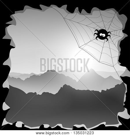 black color illustration of mountains view from cave
