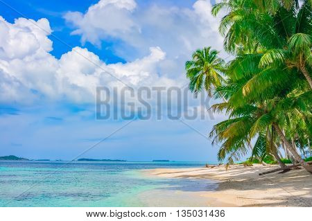 Sand beach on remote tropical island, Banyak Islands, Indonesia, Southeast Asia