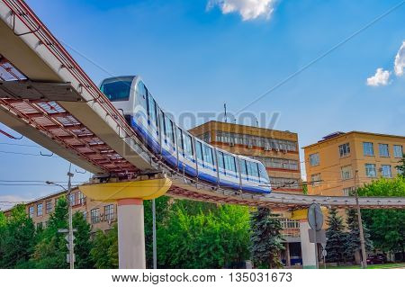 Cityscape of Moscow with monorail train, Russia
