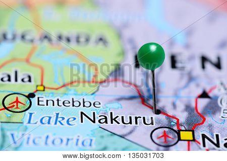 Nakuru pinned on a map of Kenya