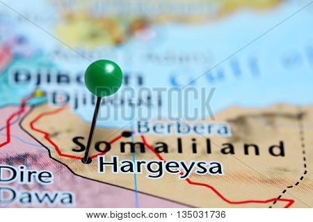 Hargeysa pinned on a map of Somalia