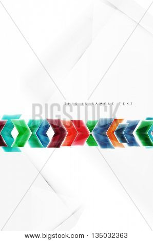 Glass glossy arrow motion background. Vector web brochure, internet flyer, wallpaper or cover poster design.