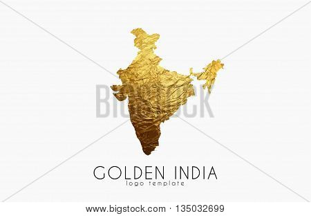 India map. Golden India logo. Creative India logo design