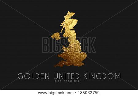 United Kingdom map. Golden United Kingdom logo. Creative United Kingdom logo design
