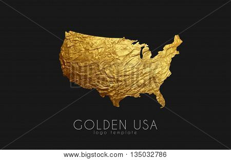USA map. Golden USA logo. Creative USA logo design
