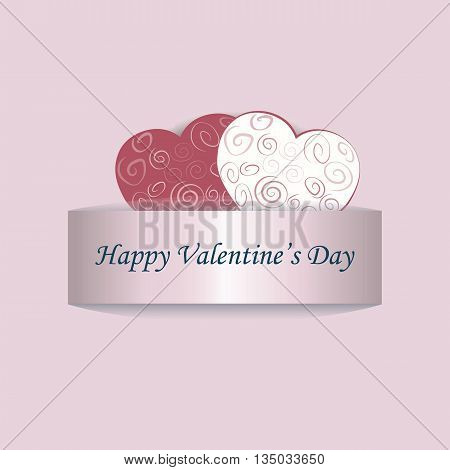 Happy Valentine's Day lace card love hearts. Vector